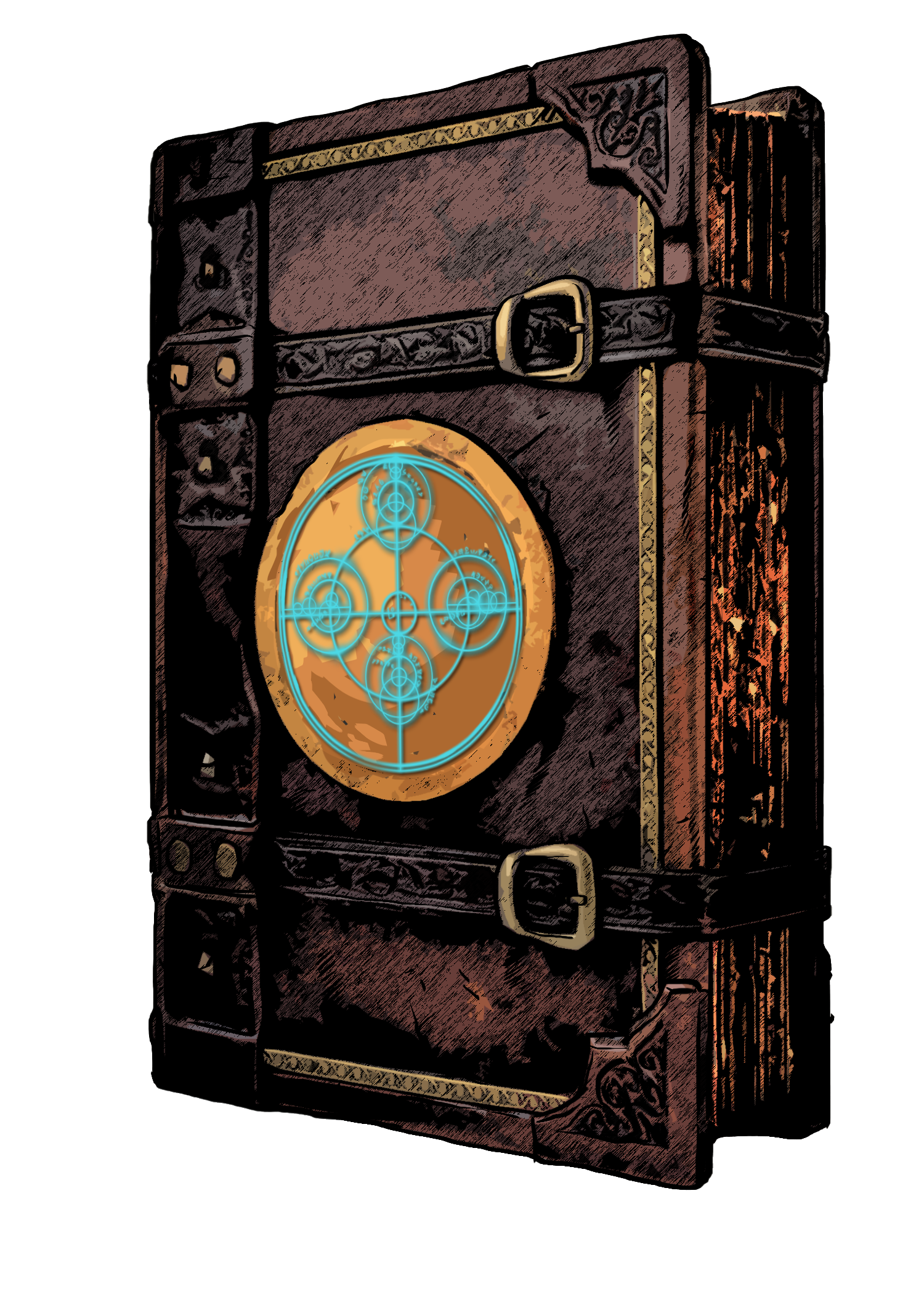 A spellbook with a glowing glyph on the cover
