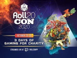 The Roll20Con Logo and an image of a part of Burn Bryte characters ready to spring into action
